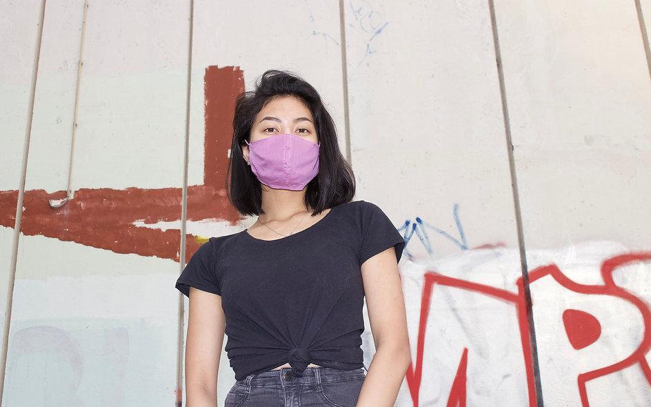 Easy Breathe Mask. Super Dünne Flieder/Altrosa Baumwolle Maske- hannisch