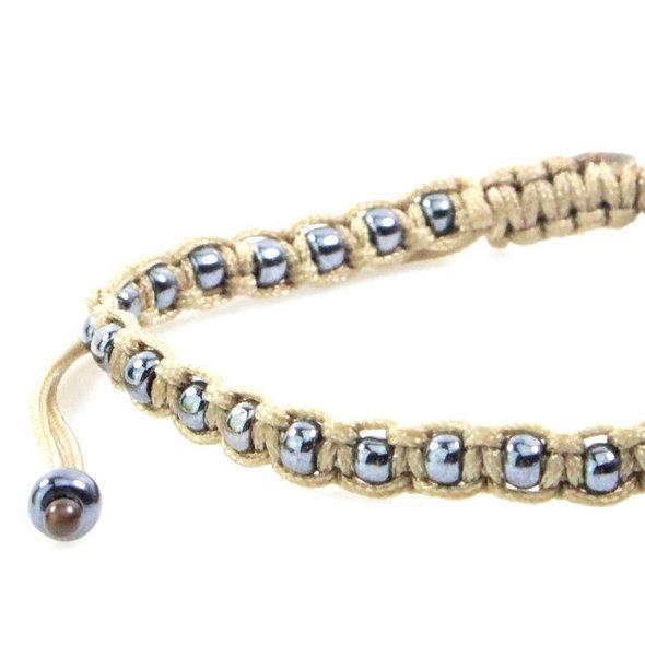 Makramee Eingefasste Gunmetal Perlen Armband/Fußkette