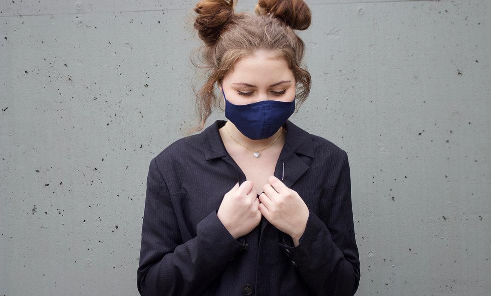 Dunkel Blau Baumwolle Maske- hannisch
