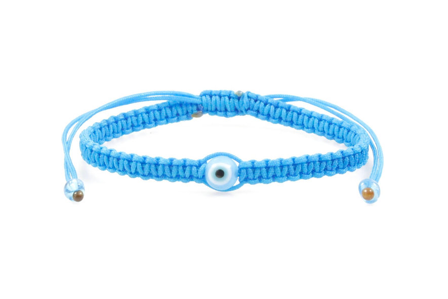 Makramee Evil Eye Türkis Perle Kugel Armband/Fußkette