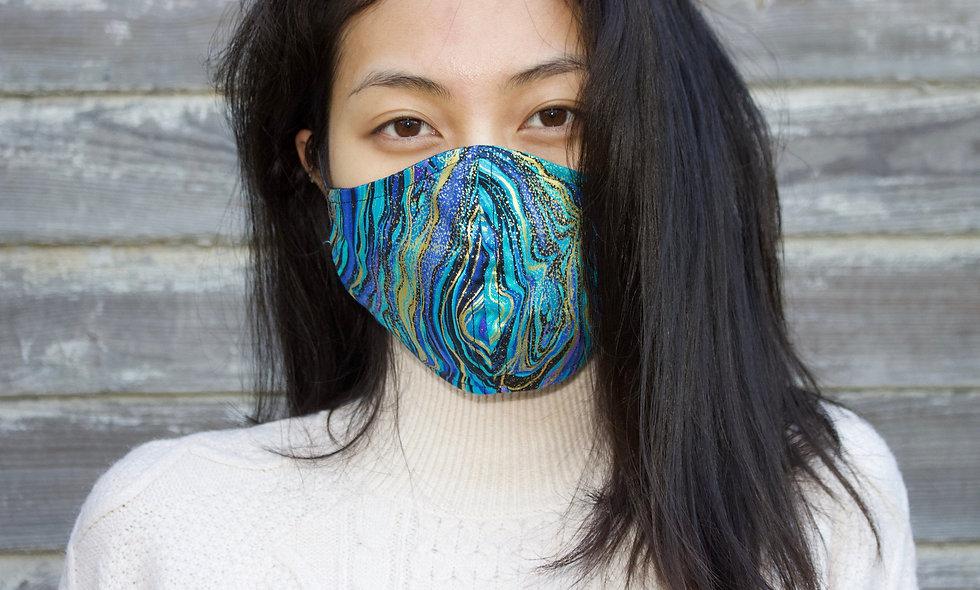 Blau Gold Malerei Baumwolle Maske- hannisch