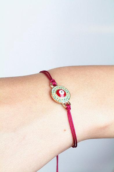 Kordel Evil Eye Plättchen Türkis Rot Gold Perle Armband/Fußkette
