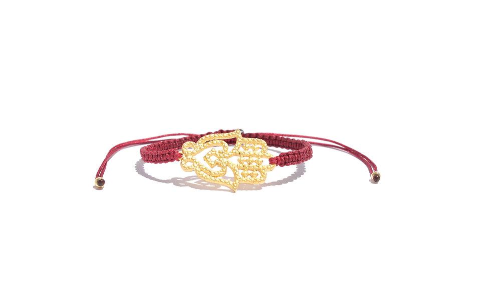 Makramee Gold Hamsa Hand Geprägt  Armband/Fußkette