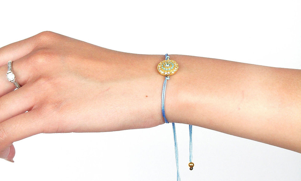 Kordel Gold Swarowski Türkis Kristalle Armband/Fußkette
