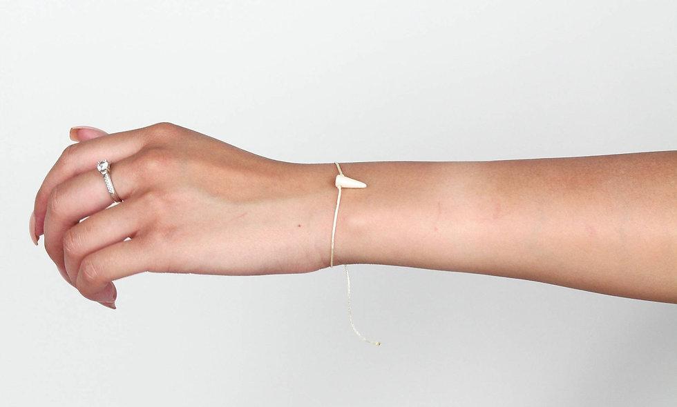 Kordel Horn Creme Marmoriert Glasperlen Armband/Fußkette