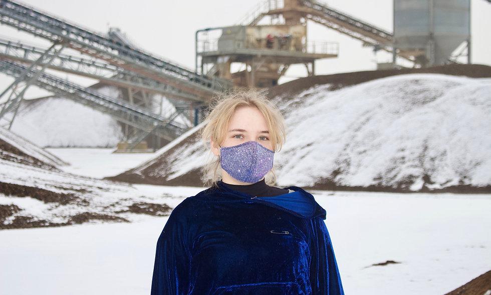 Lila Blau Glitzer Holo Maske- hannisch