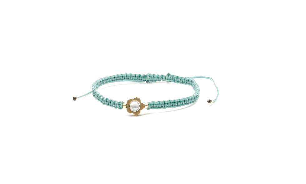 Makramee Gänseblümchen Messing Armband/Fußkette