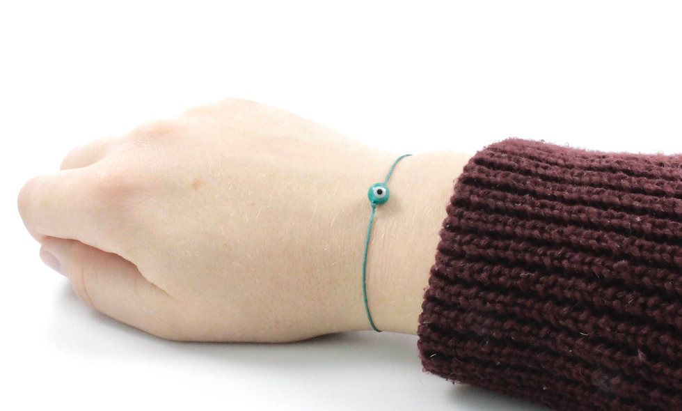 Kordel Evil Eye Petrol Rund Perle Armband/Fußkette