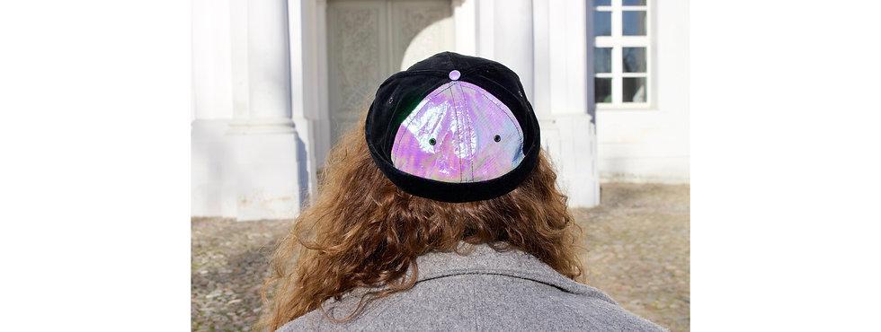 Holographic Rosa Folie Samt Docker Cap mit Tasche- hannisch