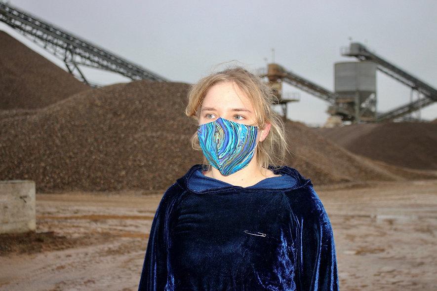 Malerei Gold Blau Baumwolle FFP2 & KN95 Masken Überzieher- hannisch