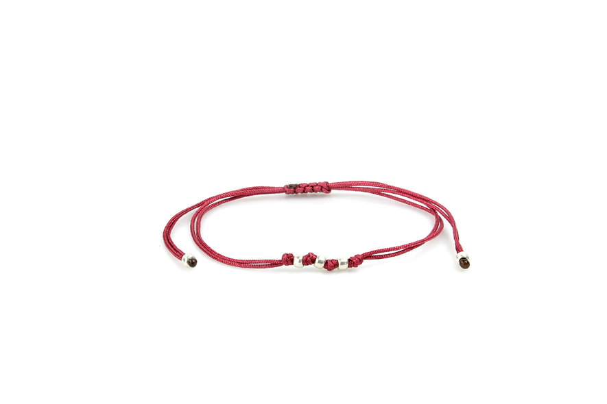 Kordel Silber Perlen Armband/Fußkette