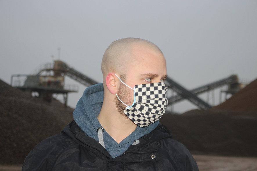 Karo Schwarz Beige Baumwolle OP- Masken Überzieher- hannisch