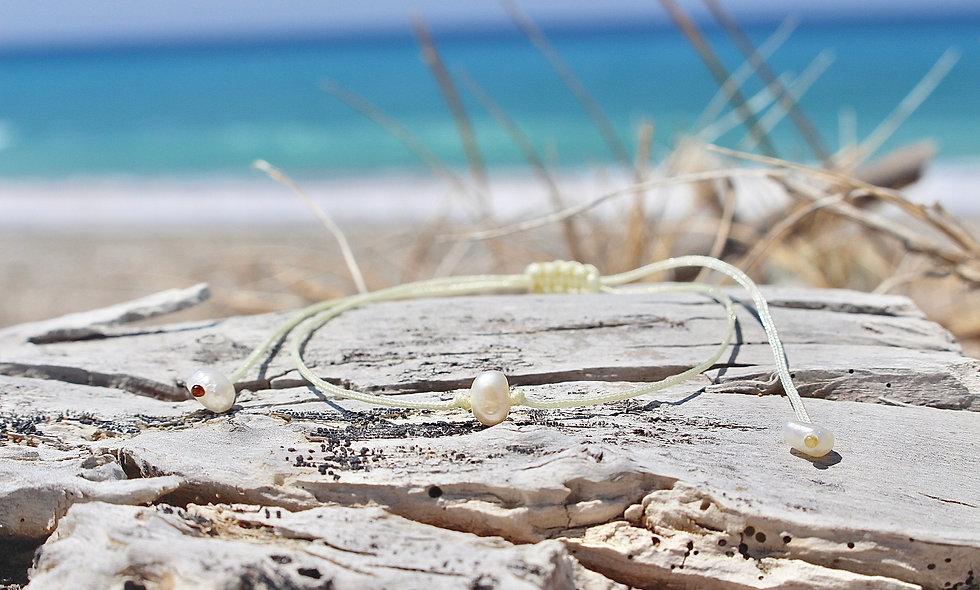 Kordel Eine Perlmutt Süßwasserperle Weiß Klein Armband/Fußkette