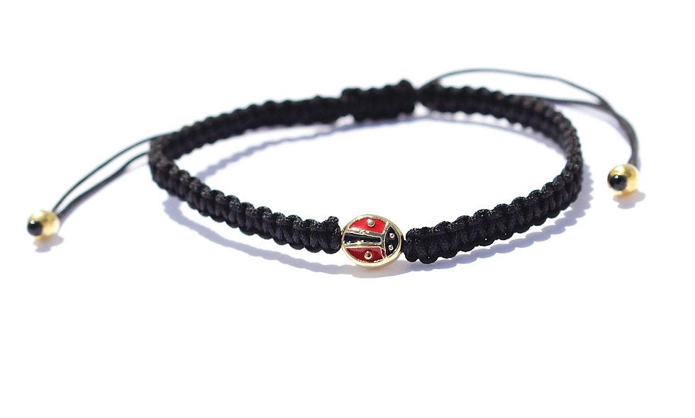 Makramee Marienkäfer Rot Schwarz Gold Bead Armband/Fußkette
