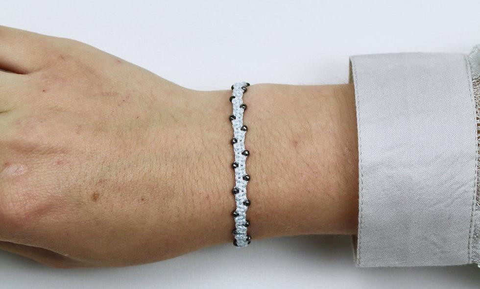 Makramee Winzige Space Grey Perlen  Armband/Fußkette