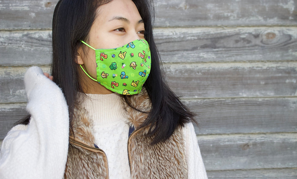 Grün Verstellbares Gummiband Pokémon Baumwolle Maske- hannisch