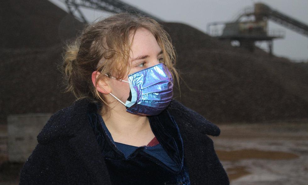 Holo Lila Blau Folie OP- Masken Überzieher- hannisch