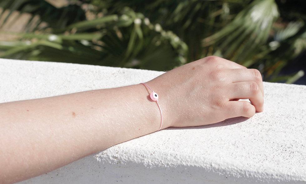 Kordel Evil Eye Rosa Perlen Armband/Fußkette