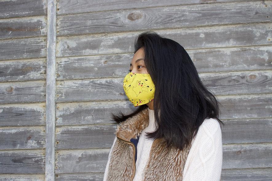 Gelbe Verstellbares Gummiband Pikachu Baumwolle Maske- hannisch