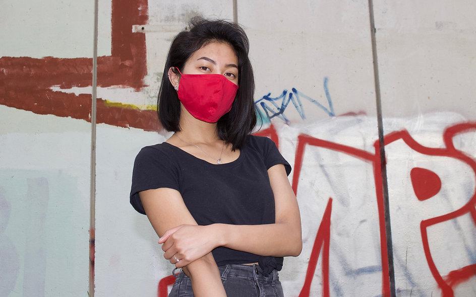 Easy Breathe Mask. Super Dünne Rot Baumwolle Maske- hannisch