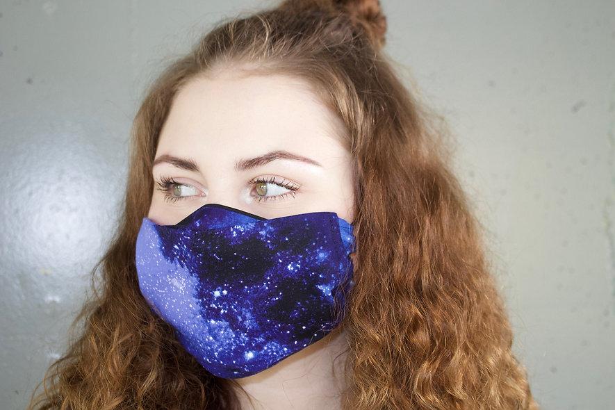 Galaxy Dunkel Blau Baumwolle Flap Maske- hannisch