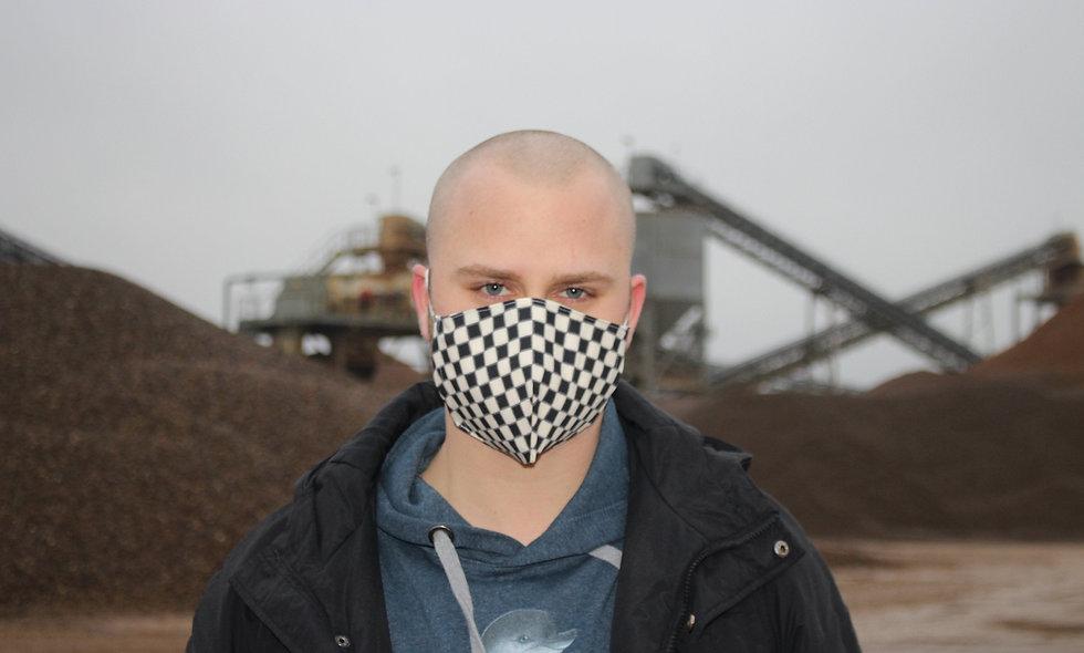 Karo Beige Schwarz Baumwolle FFP2 & KN95 Masken Überzieher- hannisch