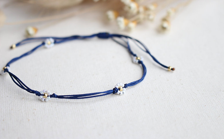 Ultra Slim Kordel Viele Gänseblümchen Gold Weiß Perlen Armband/Fußkette