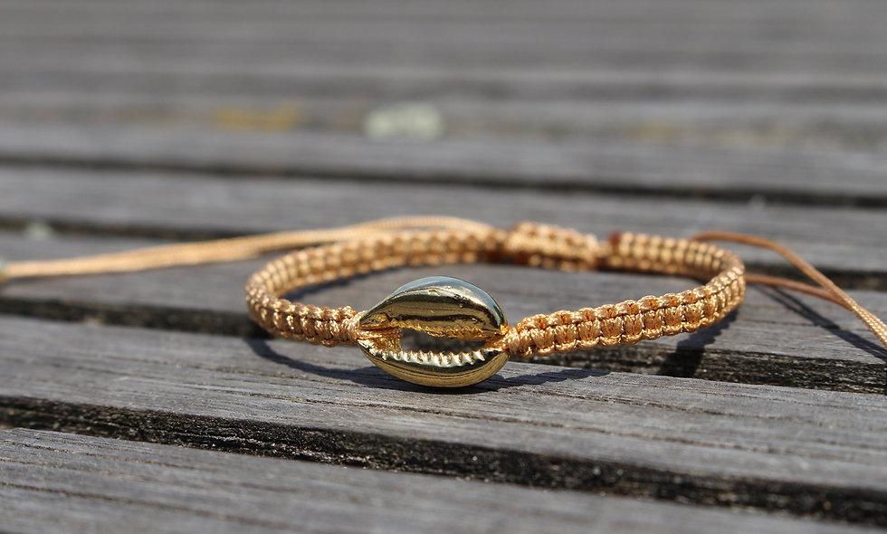 Makramee Muschel Gold Armband/Fußkette