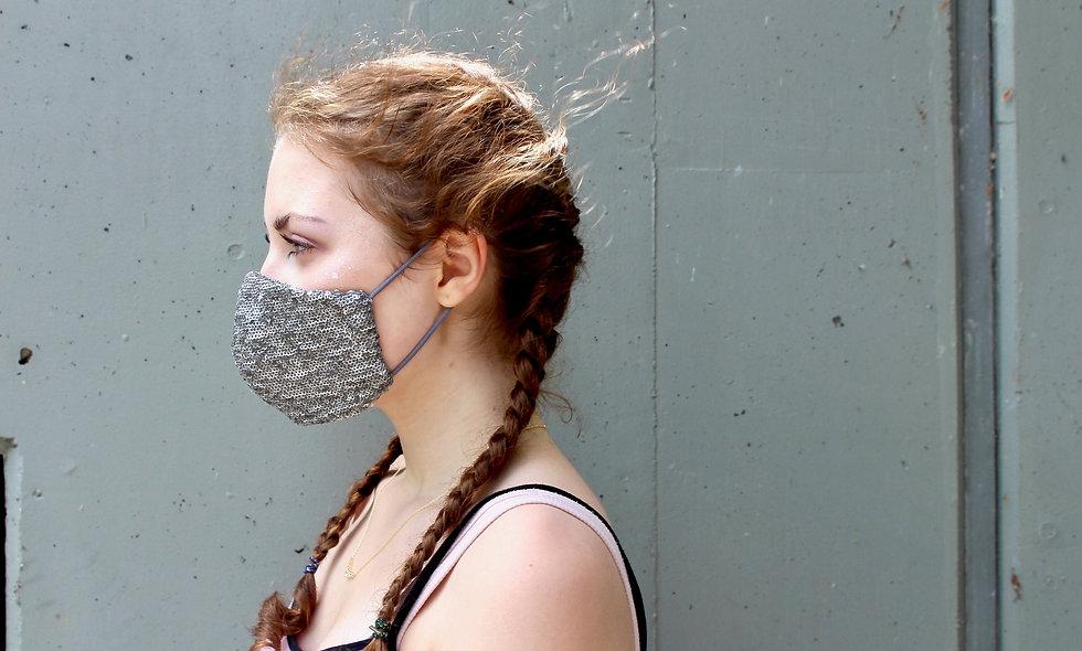 Pailletten Grau Silber Maske- hannisch
