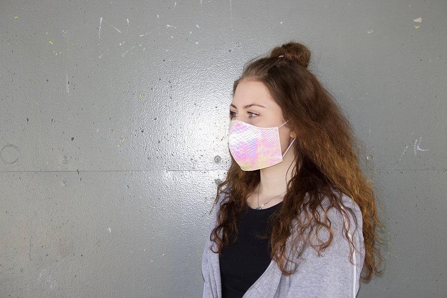 Holographic Croco Hell Rosa Maske- hannisch