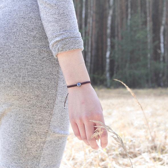 Makramee Boho Porzellanperle Silber Armband/Fußkette