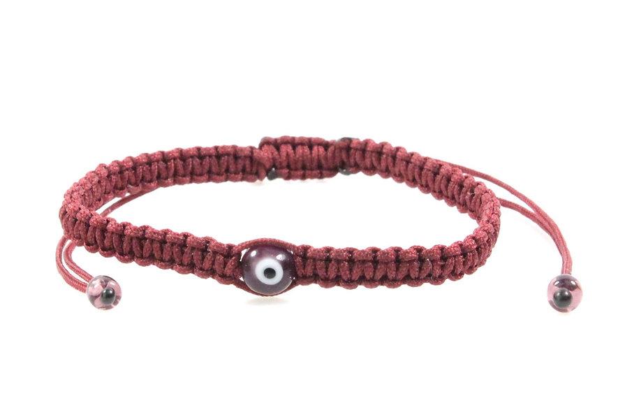 Makramee Evil Eye Bordeaux Perle Kugel Armband/Fußkette