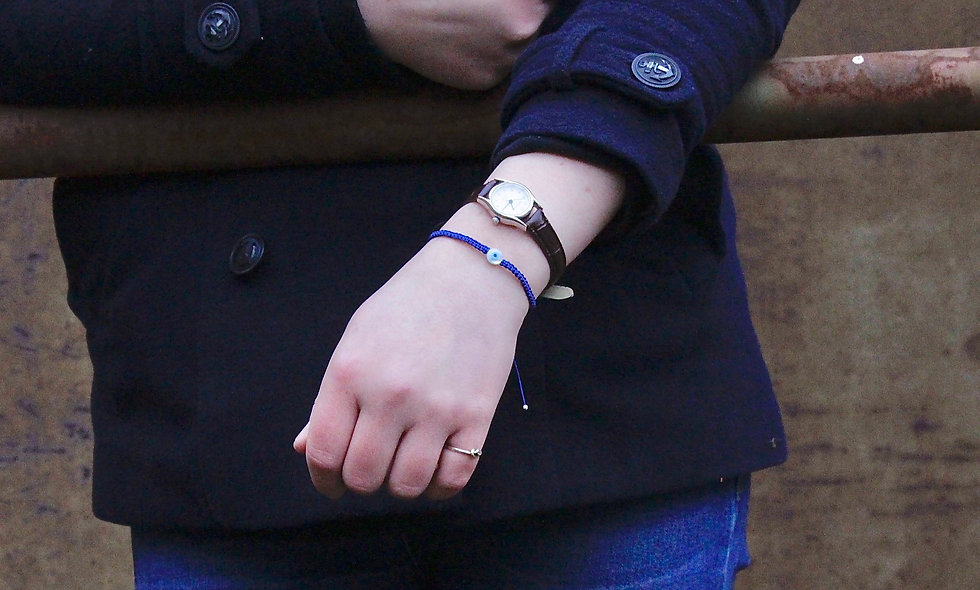 Makramee Perlmutt Süßwasserperle Evil Eye Armband/Fußkette