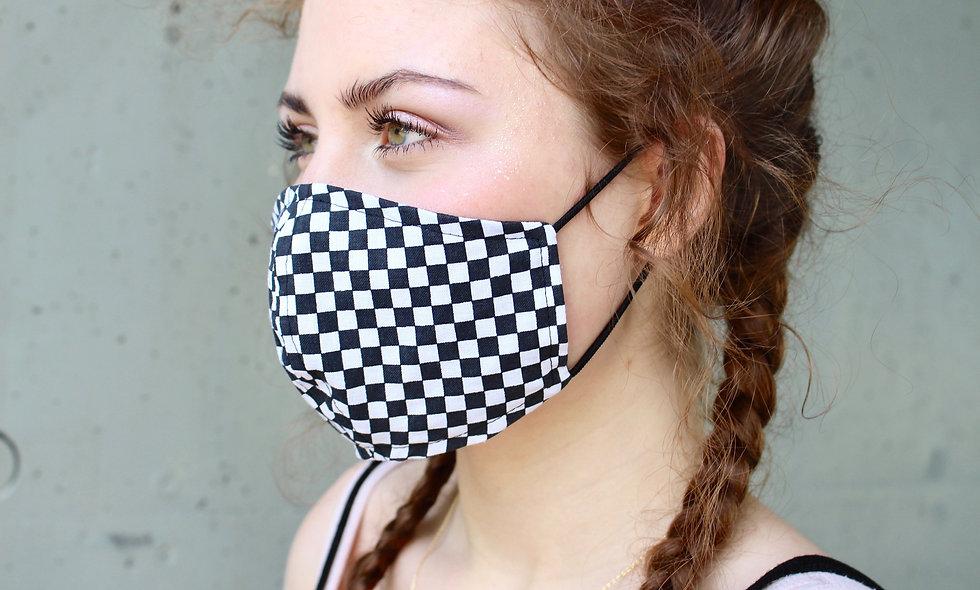 Schwarz Weiß Kartiert Maske- hannisch