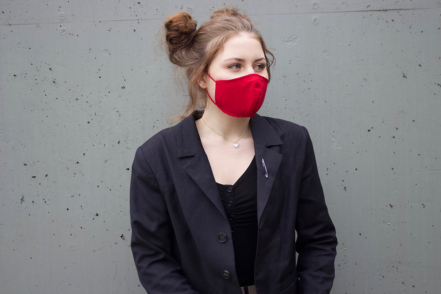 Rot Baumwolle Maske- hannisch
