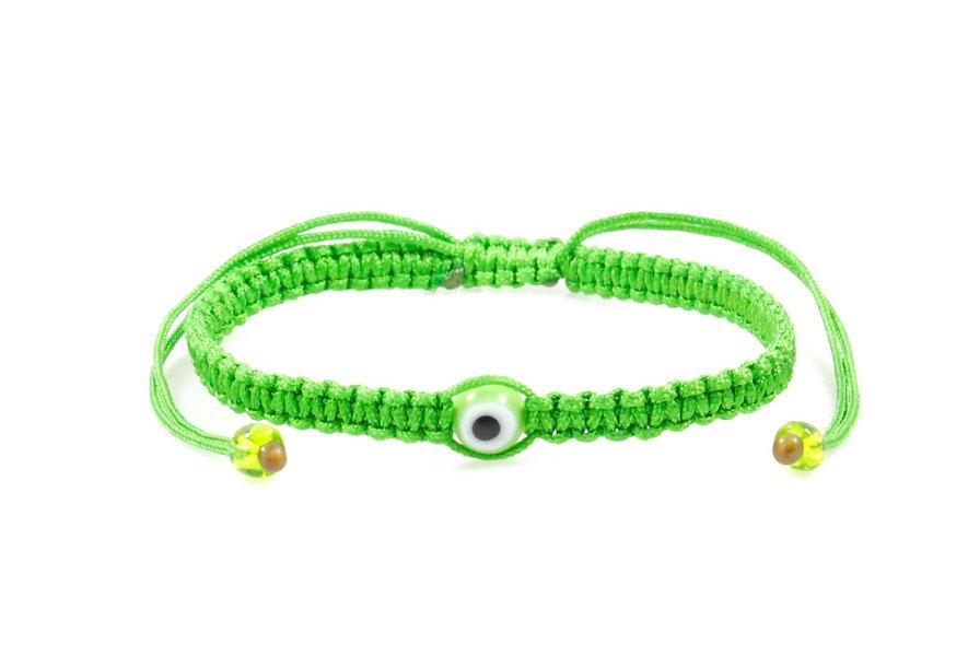 Makramee Evil Eye Hell Grün Perle Kugel Armband/Fußkette