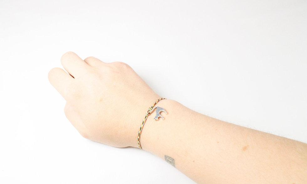Kordel Katzen Anhänger Silber Armband/Fußkette