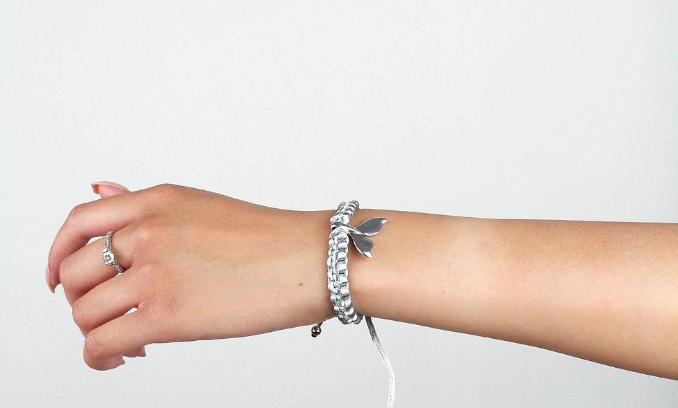 Silber Flosse Breit Makramee  Armband/Fußkette