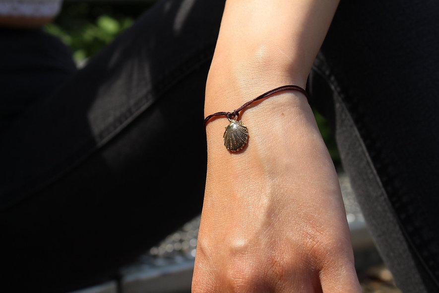 Kordel Muschel Braun Glitter Armband/Fußkette