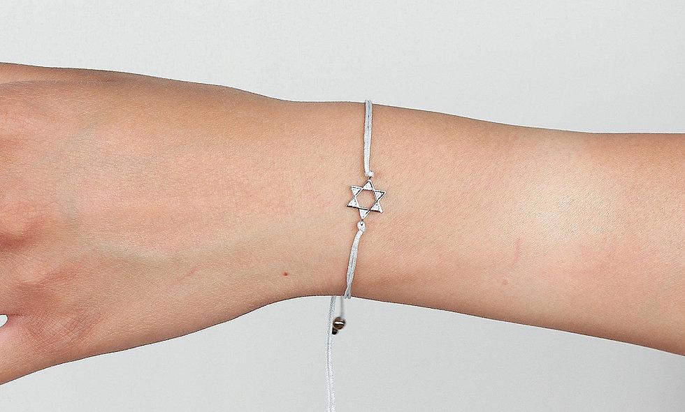 Kordel Silber Zirkonia Stern Armband/Fußkette