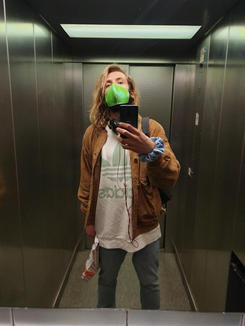 Holographic Croco Grell Grün Maske- hannisch