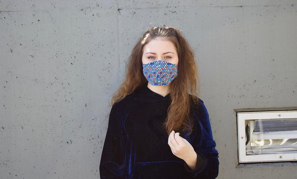 Blau Retro Plus Maske- hannisch