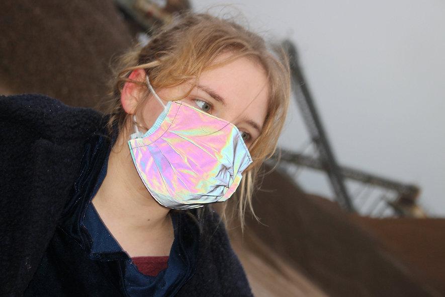 Reflektor Schwarz Regenbogen OP- Masken Überzieher- hannisch