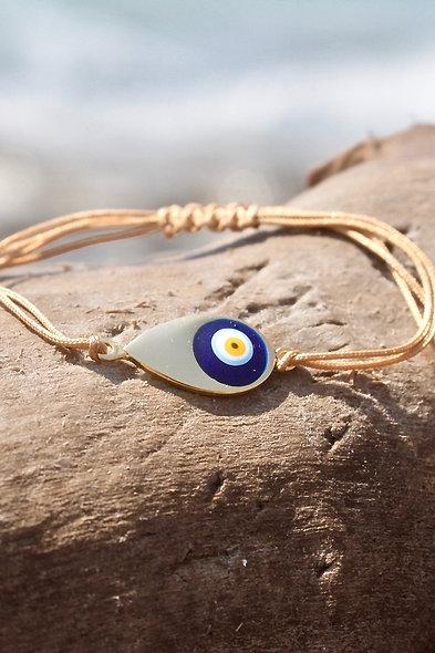 Kordel Evil Eye Tropfen Gold Perle Armband/Fußkette