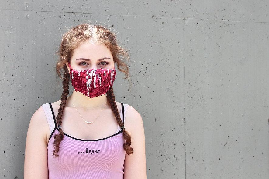 Pailletten Pink/Rot Silber Holo Maske- hannisch