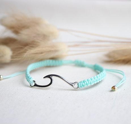 Makramee Welle Silber Armband/Fußkette