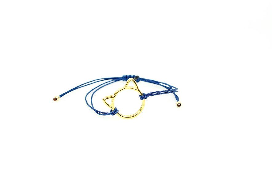 Kordel Katze Gold Armband/Fußkette