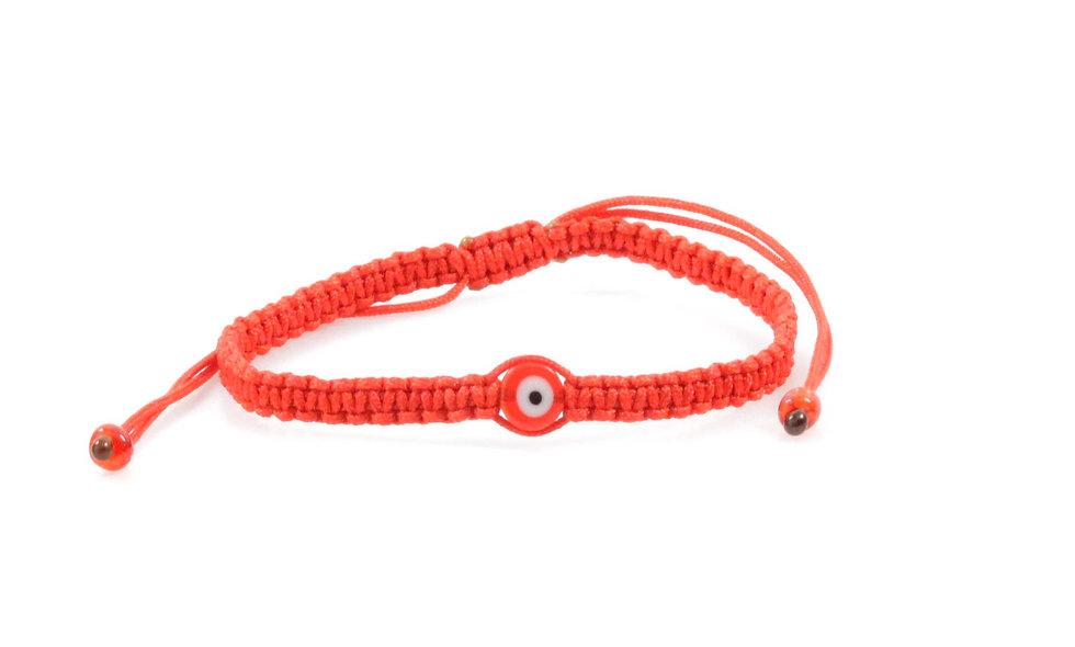 Makramee Evil Eye Rot Perle Flach Armband/Fußkette