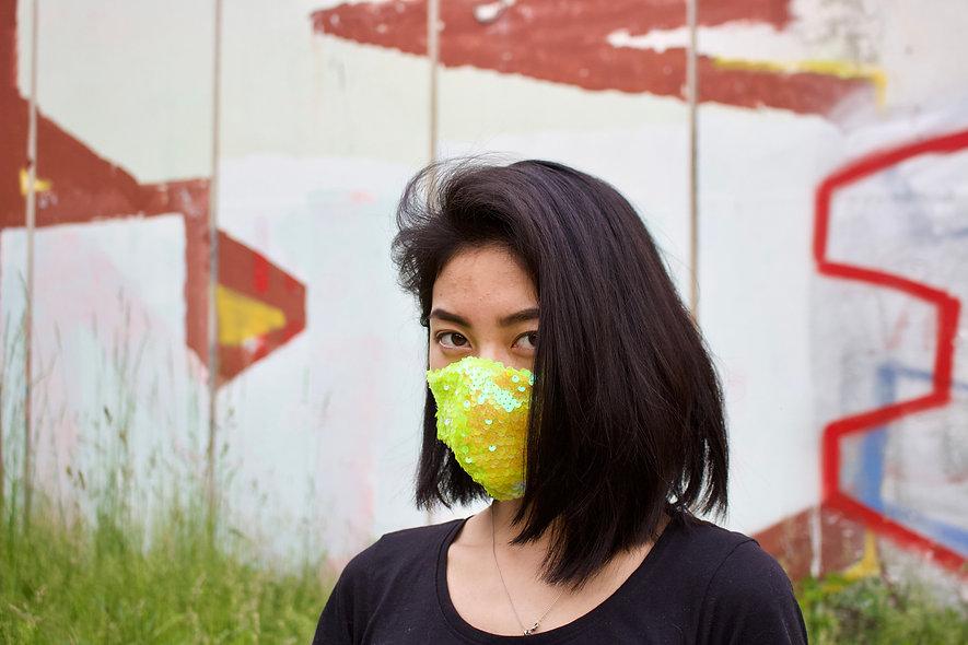 Holographic Kleine Pailletten Neon Maske- hannisch
