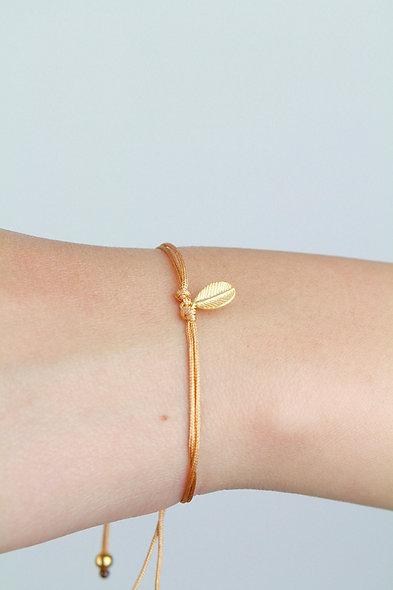 Kordel Gold Blatt Armband/Fußkette